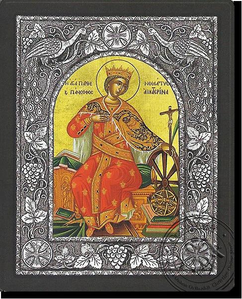 Saint Catherine - Silver Icon
