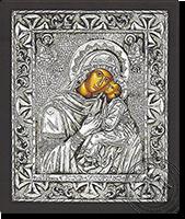 Panagia Glikofilousa Patmou - Silver Icon