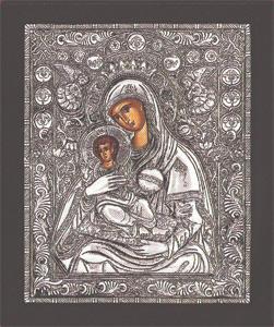 Panagia Glikasmos aggelwn - Silver Icon