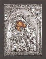 Panagia Glykofilousa Peackok - Silver Icon