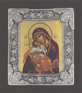 Panagia Glikofilousa (Russian) - Silver Icon