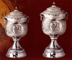 Hand Carved Chromium Baptismal Font with Lid & Tank
