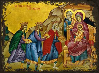 The Adoration of the Three Magi - Aged Byzantine Icon