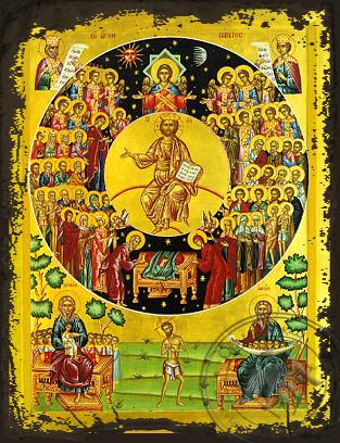 All Saints Divine Chorus - Aged Byzantine Icon