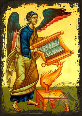 Angel Chanter, Full Body - Aged Byzantine Icon