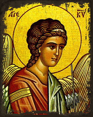 Angel of the Lord, Detail (Left) - Aged Byzantine Icon