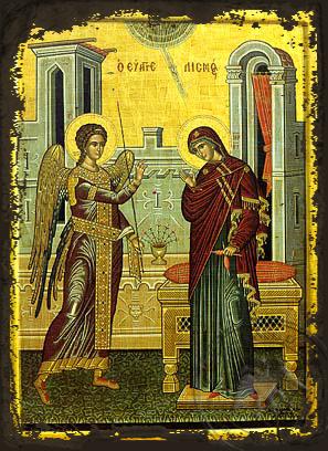 The Annunciation - Aged Byzantine Icon