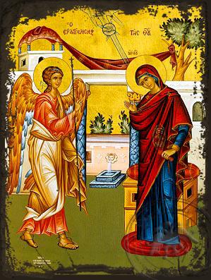 Annunciation - Aged Byzantine Icon
