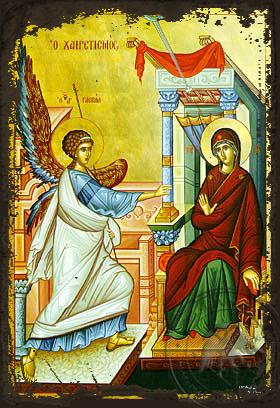 Annunciation (Salutation) - Aged Byzantine Icon