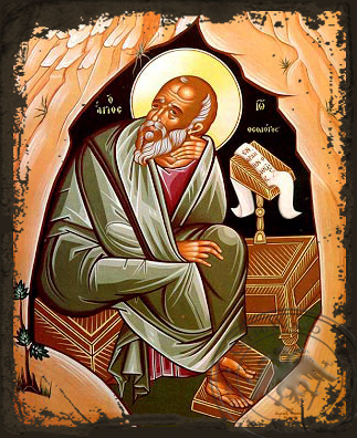 Apostle and Evangelist Saint John the Theologian in Cave, Full Body - Aged Byzantine Icon