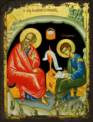 Apostle and Evangelist Saint John the Theologian with Saint Prochorus the Apostle, in Cave, Full Body - Aged Byzantine Icon
