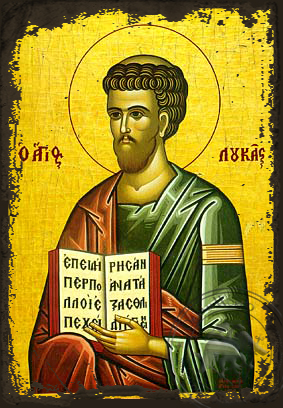 Luke the Apostle and Evangelist - Aged Byzantine Icon