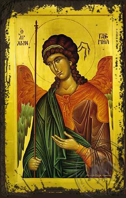 Archangel Gabriel - Aged Byzantine Icon