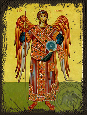 Archangel Gabriel, Full Body - Aged Byzantine Icon