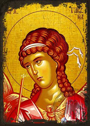 Archangel Gabriel, Bust - Aged Byzantine Icon