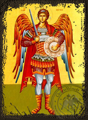 Archangel Michael, Full Body - Aged Byzantine Icon