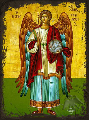 Michael Archangel Full Figure - Aged Byzantine Icon