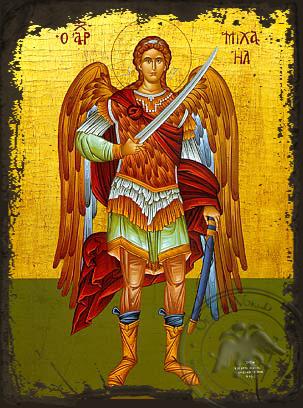 Archangel Michael, Full Body - Aged Byzantine Icon