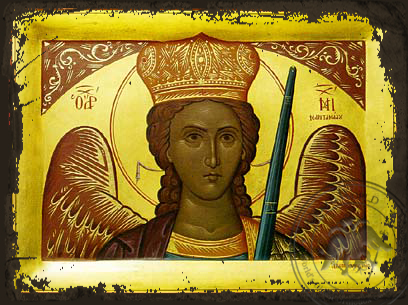 Archangel Michael of Mantamadon, Bust - Aged Byzantine Icon