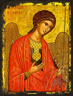 Archangel Michael, Supplicating - Aged Byzantine Icon