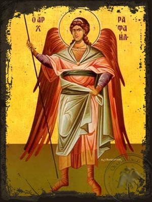 Archangel Raphael Full Body - Aged Byzantine Icon