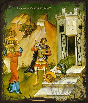 Beheading of Saint John the Forerunner - Aged Byzantine Icon
