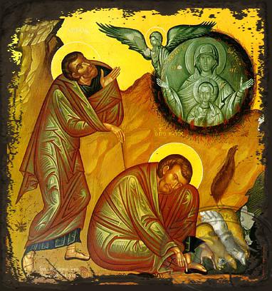 The Burning Bush and Holy Prophet Moses - Aged Byzantine Icon