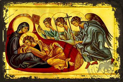 Christ Anapeson: Reclining Infant Jesus - Aged Byzantine Icon