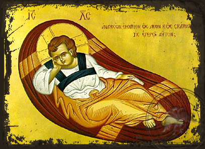 The Reclining Infant (The Anapeson) - Aged Byzantine Icon