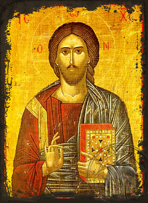 Christ Blessing - Aged Byzantine Icon