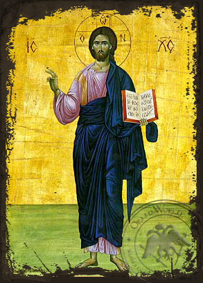 Christ Blessing, Full Body - Aged Byzantine Icon