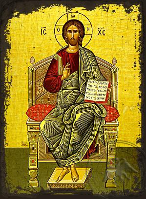 Enthroned - Aged Byzantine Icon