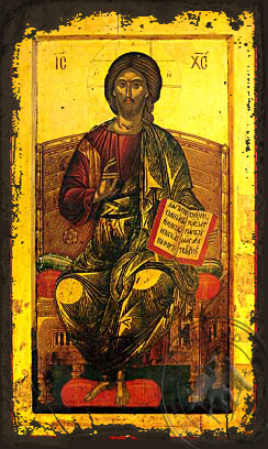 Christ Blessing, Enthroned - Aged Byzantine Icon