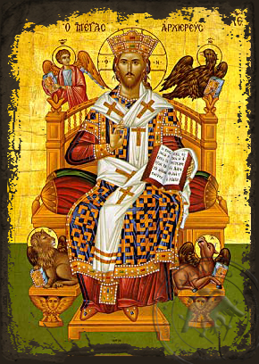 Great High Priest Enthroned - Aged Byzantine Icon