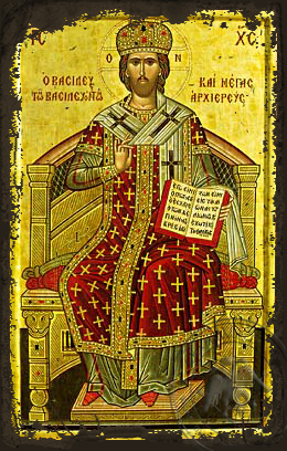 Christ Blessing, King of Kings and Great High Priest, Enthroned - Aged Byzantine Icon