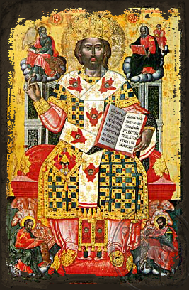 Christ Blessing, King of Kings, Master of Masters and Great High Priest, Enthroned - Aged Byzantine Icon