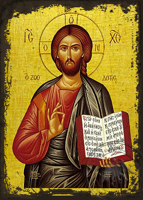 Christ Blessing, the Life - Giver - Aged Byzantine Icon