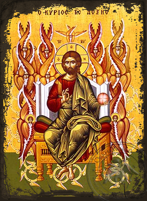 Christ Blessing, Lord of Glory, Enthroned - Aged Byzantine Icon