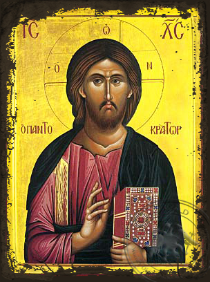 Christ Blessing, Pantocrator - Aged Byzantine Icon