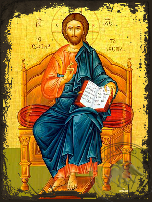 Christ Blessing, Saviour of the World, Enthroned - Aged Byzantine Icon