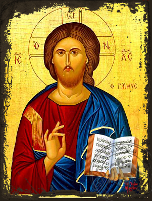 Christ Blessing, the Sweet - Aged Byzantine Icon