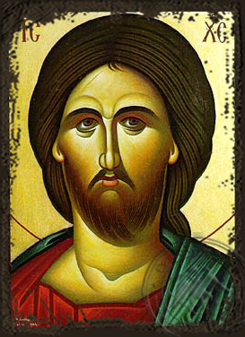 Christ, Bust - Aged Byzantine Icon
