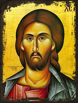 Christ, Bust - Aged Byzantine Icon
