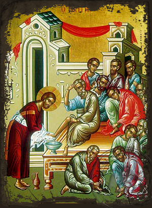 Christ Washing the Disciples' Feet - Aged Byzantine Icon
