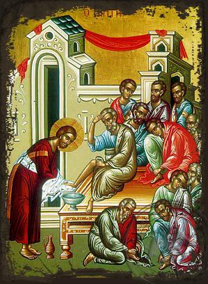 Christ Washing the Disciples' Feet - Aged Byzantine Icon