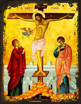Crucifixion - Aged Byzantine Icon