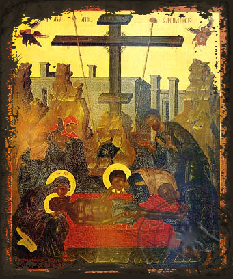 Descent from the Cross (Lamentation) - Aged Byzantine Icon