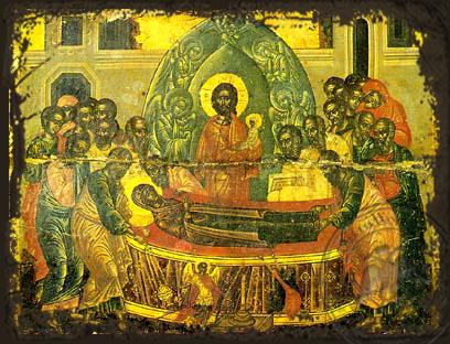 Dormition of Theotokos - Aged Byzantine Icon