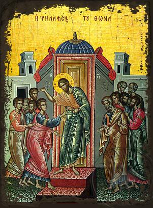Doubting of Thomas - Aged Byzantine Icon