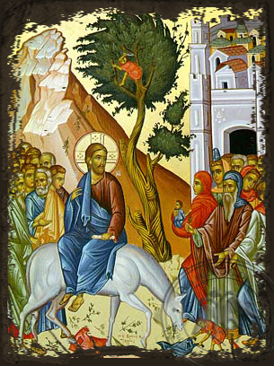 The Entry into Jerusalem - Aged Byzantine Icon